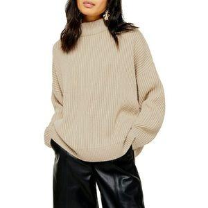 Beige sweater mock neck